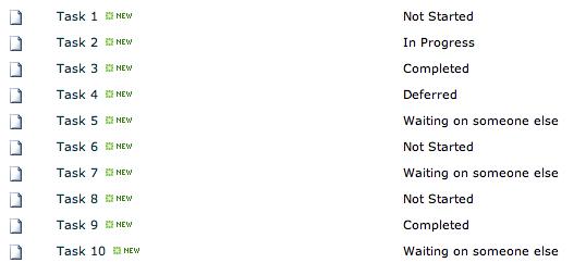 Task list with 10 tasks