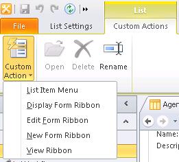 Custom Actions in SharePoint Designer