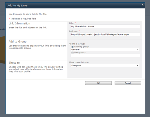 Re-add the My Links Functionality as in SharePoint 2007 to
