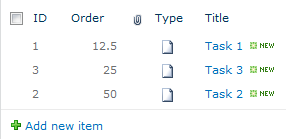 New Item Order (Check Order Values)