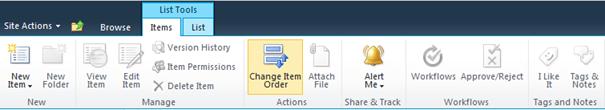Change Item Order - Custom Action