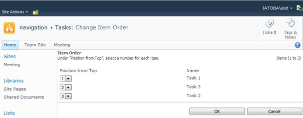 Change Item Order Page