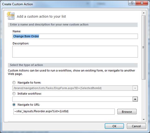 Custom Change Item Order Action