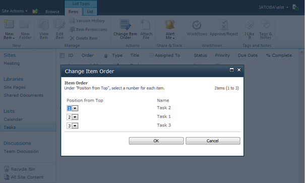 Change Item Order Result