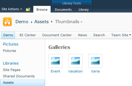 Gallery view with default image