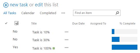 Task Progress Bar Result