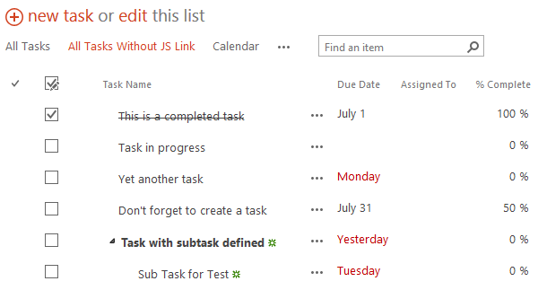 Default Task List Rendering