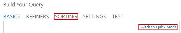 Sorting tab in advanced mode