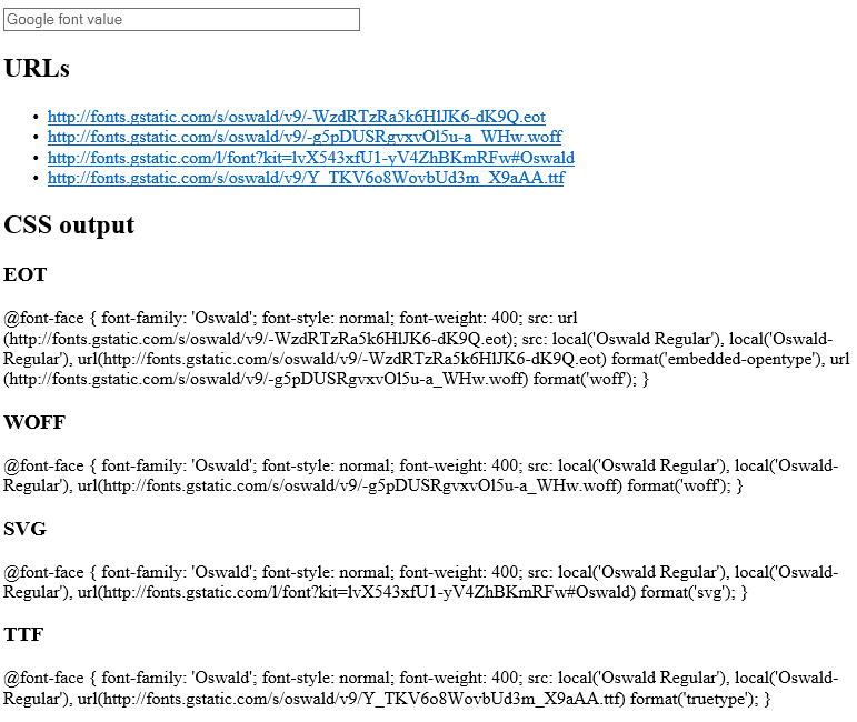 Download fonts web page