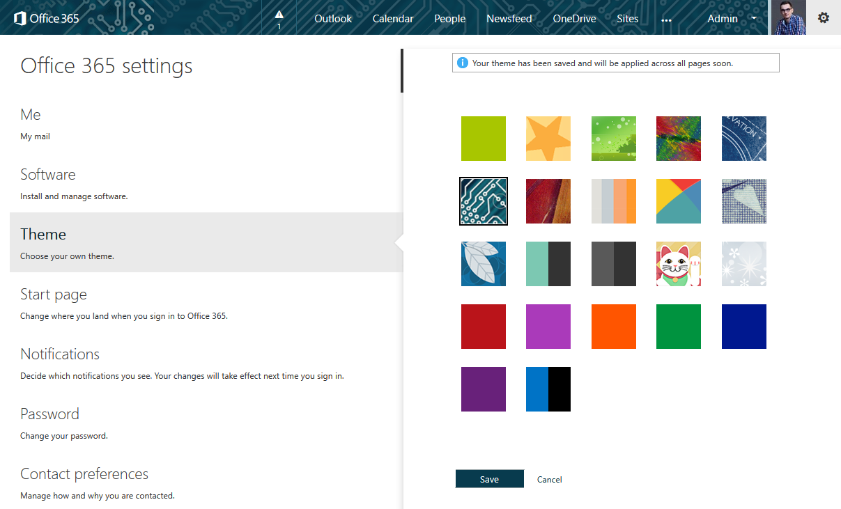 Office 365 with a personal theme