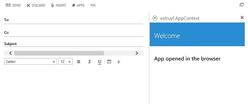 App opened in OWA
