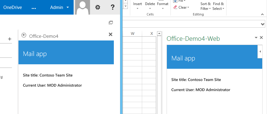 App loaded in OWA and Excel