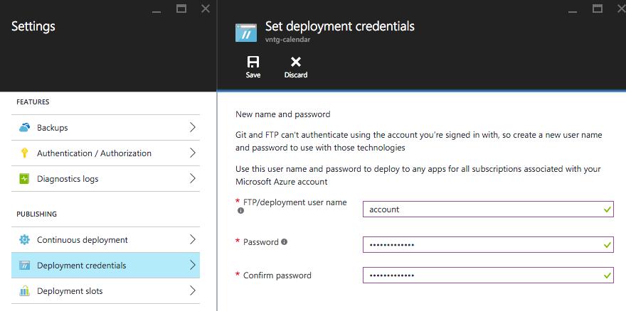 Deployment credentials