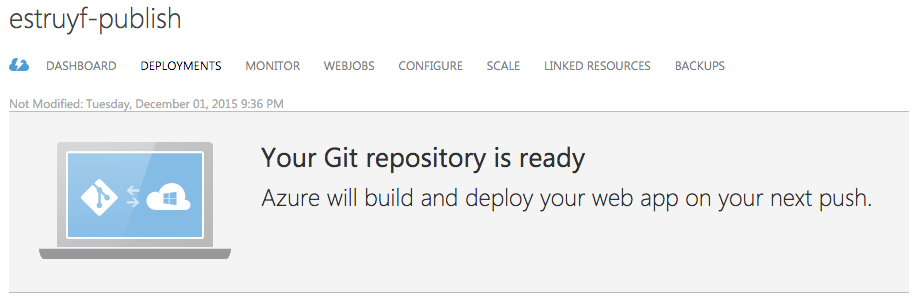 Git repository is ready message on the old portal