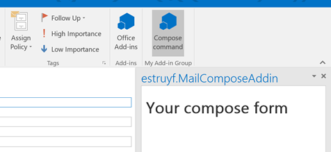 Outlook 2016 - compose add-in command