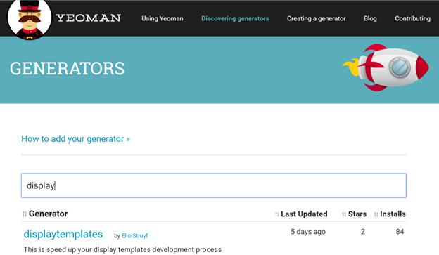 Display template generator on Yeoman website