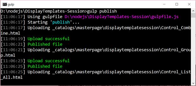 Gulp publish task