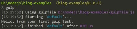 Default task output
