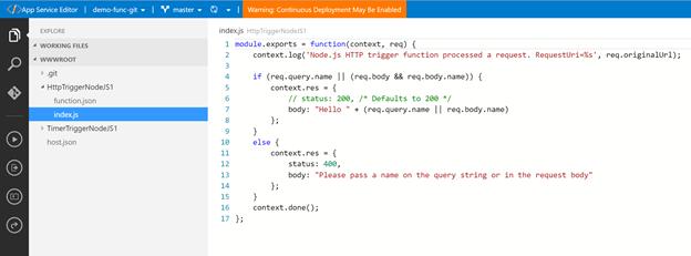 App Service Editor - UI