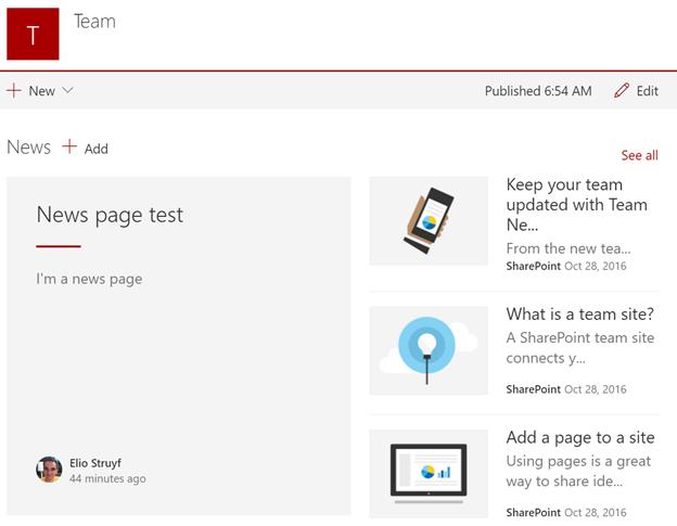 Team news functionality