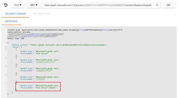 Members via the Microsoft Graph API