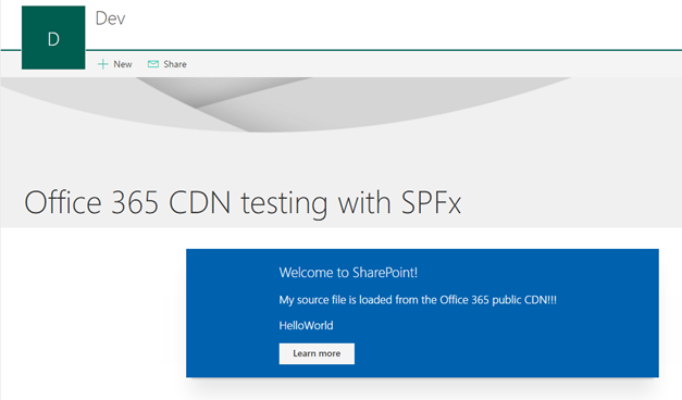 SPFx web part loaded from the CDN