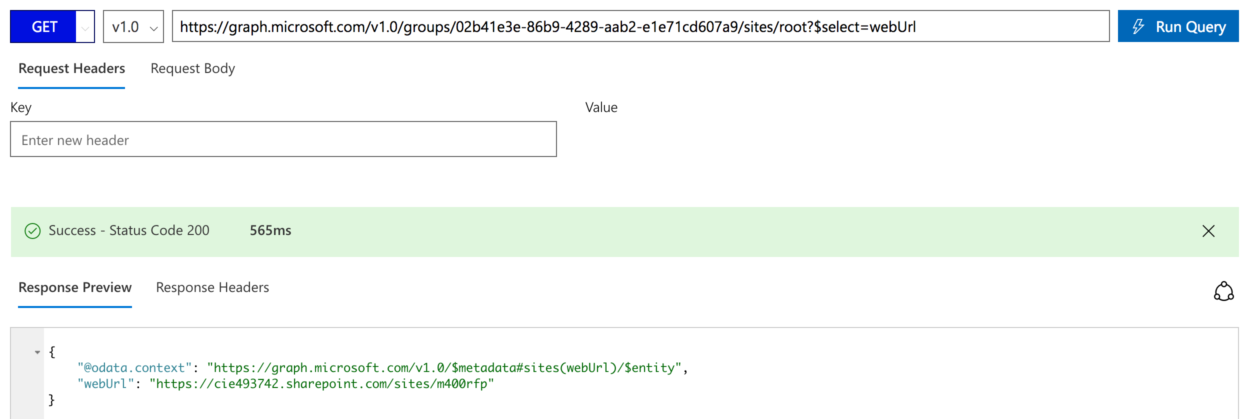 Get the SharePoint site behind an Office 365 Group via the