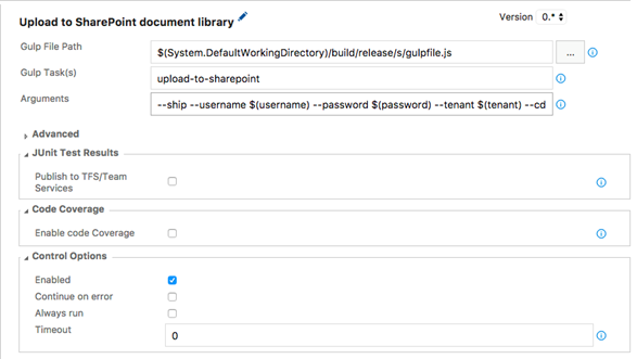 Upload to SharePoint document library task configuration