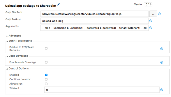 Upload app package to SharePoint task configuration