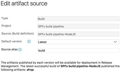 Set the source alias to build