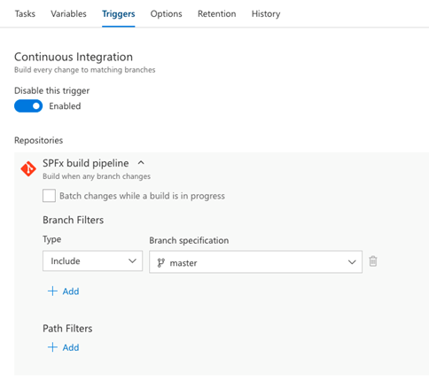 Automate continuous integration by enabling the trigger