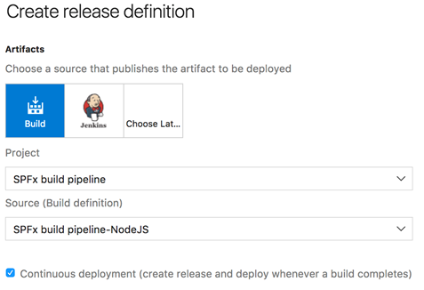 Release definition configuration