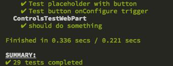 Test gulp task output