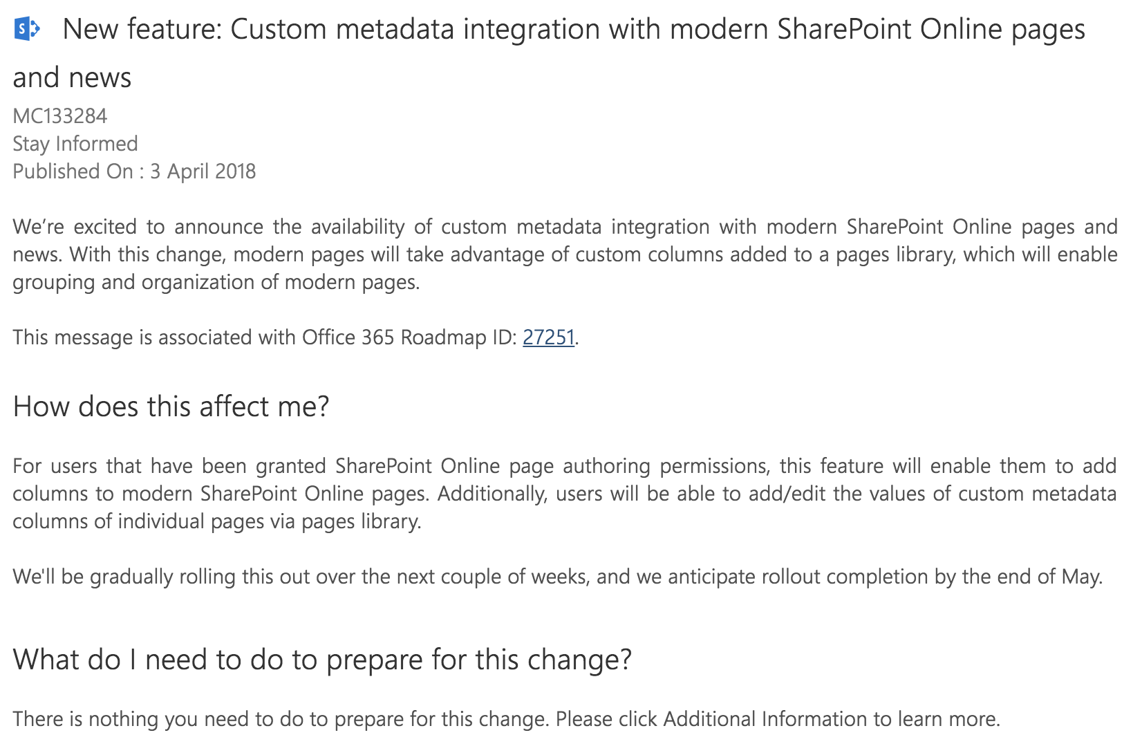 Custom metadata for SharePoint modern pages