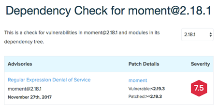 Dependency check result for moment@2.18.1