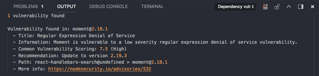 Check for dependency vulnerabilities result