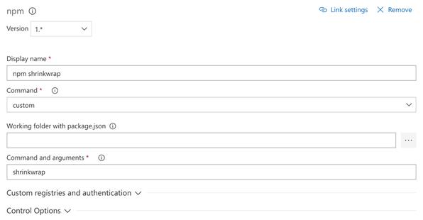 npm schrinkwrap optional task