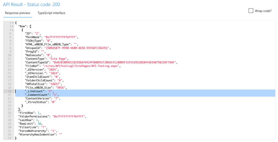 Nr. of likes and comments via the RenderListDataAsStream API