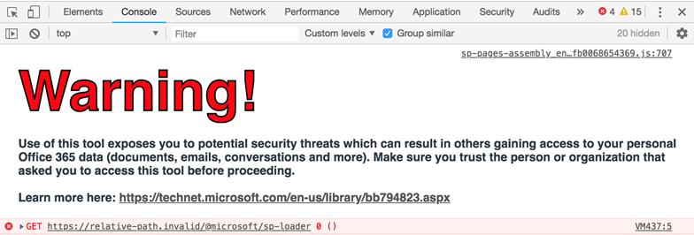Browser developer tools errors