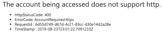 The account being accessed does not support HTTP