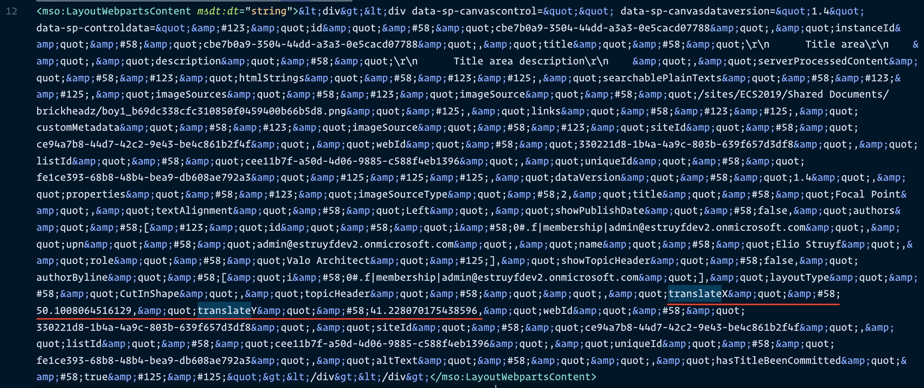 LayoutWebpartsContent data