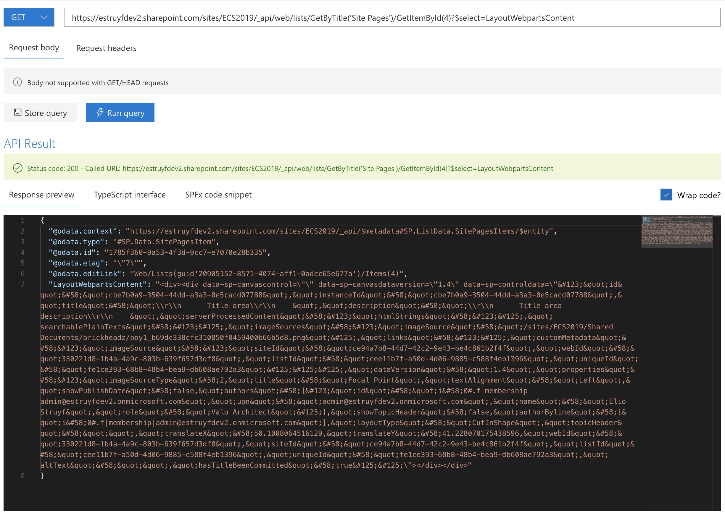 Verify the returned JSON data