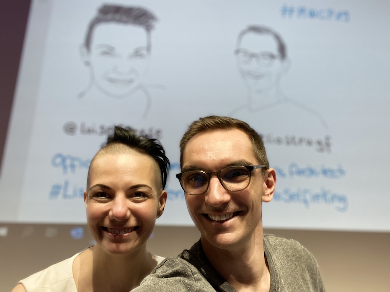 Just before our session at MWCP where Luise drew me, and I drew Luise. ☺️
