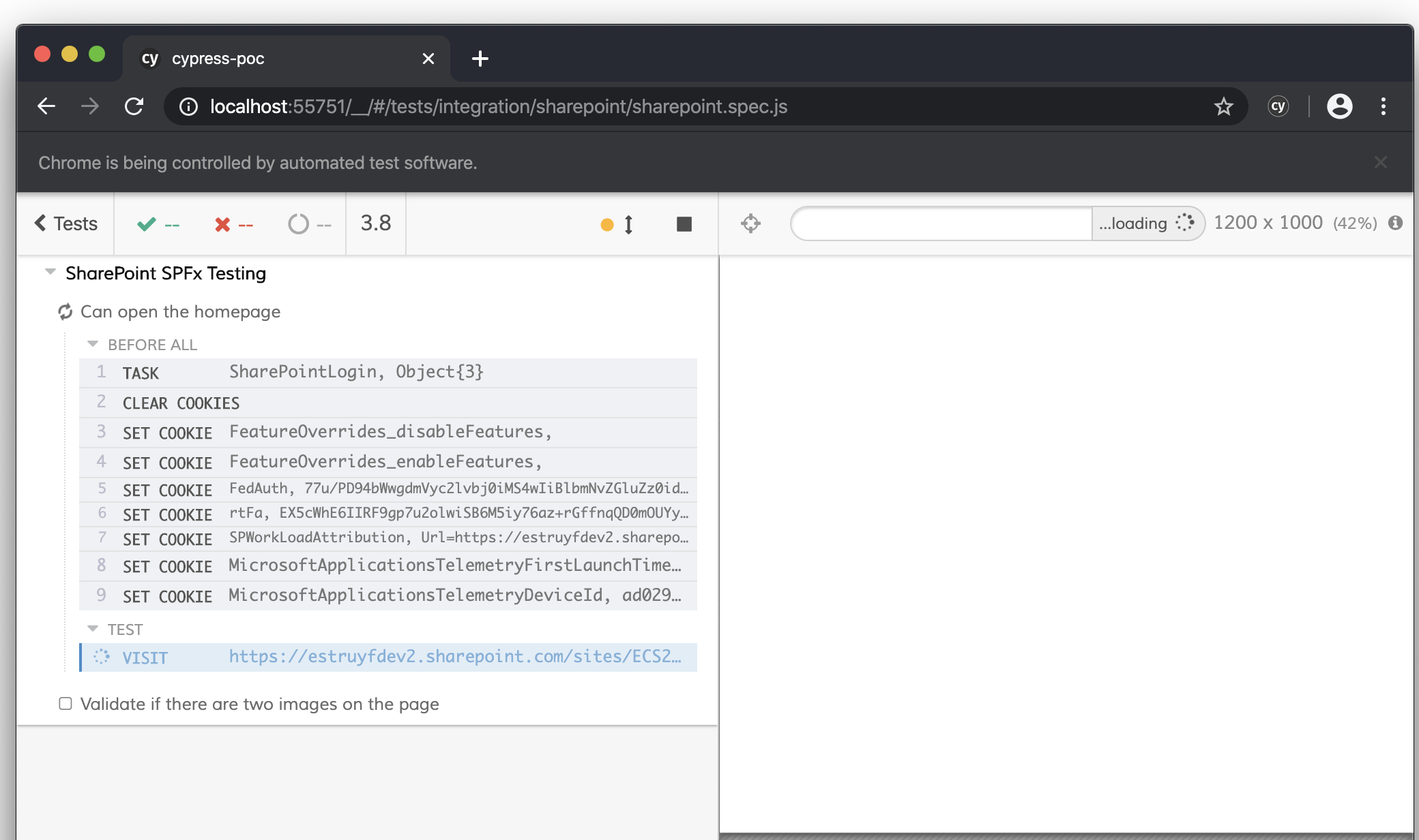 Cypress running tests for SharePoint solutions